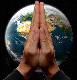 Praying Hands with Earth in background