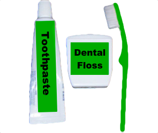 Toothpaste, Dental Floss and Toothbrush